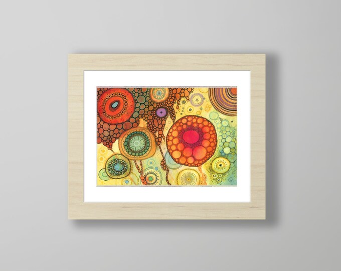DoodlePainting - ORIGINAL -  14x11 - Abstract Circles Landscape Watercolor in Mat -  Ageless Beauty