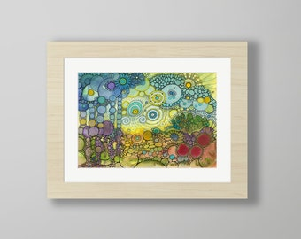 DoodlePainting - ORIGINAL -  16x12 - Abstract Circles Watercolor in Mat -  Ablaze