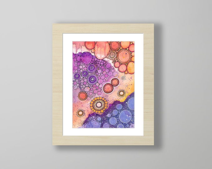 DoodlePainting - ORIGINAL -  11x14 - Abstract Circles Landscape Watercolor in Mat -  Only In Dreams