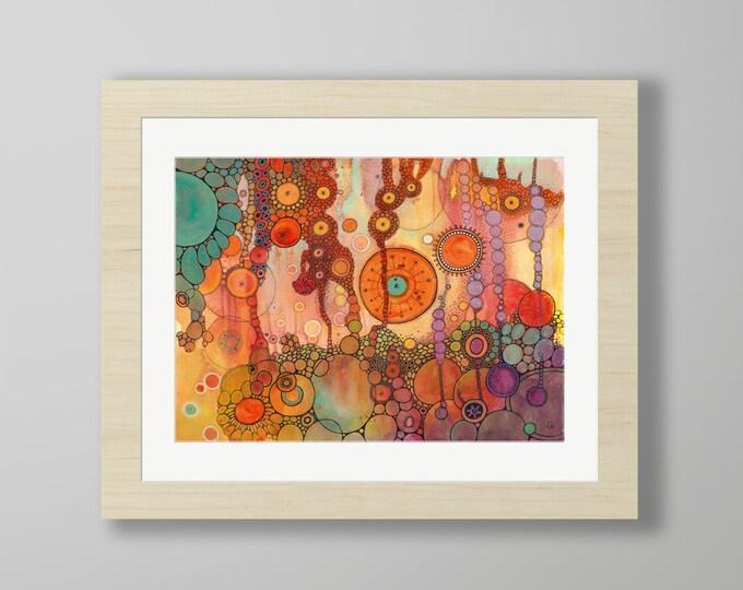 DoodlePainting - ORIGINAL -  20x16 - Abstract Circles Watercolor in Mat -  Ascension