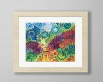 DoodlePainting - ORIGINAL -  20x16 - Abstract Circles Watercolor in Mat -  Flow