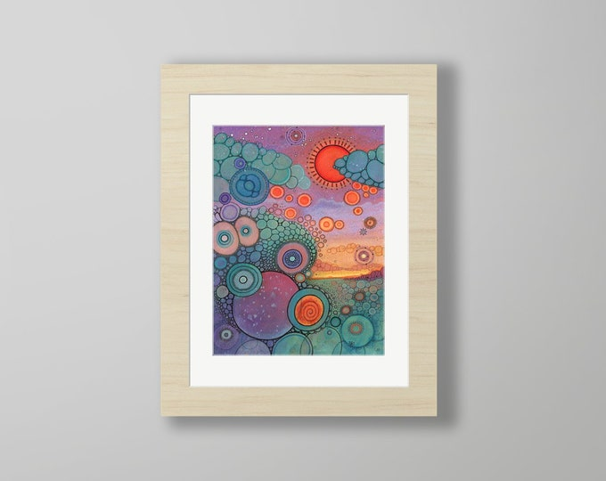 DoodlePainting - ORIGINAL -  12x16 - Abstract Circles Watercolor in Mat -  Scenic World