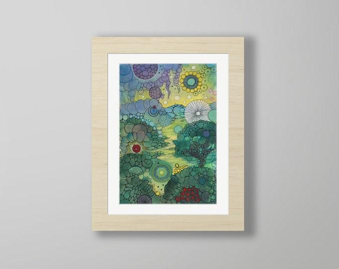 DoodlePainting - ORIGINAL -  12x16 - Abstract Circles Watercolor in Mat -  Splendor