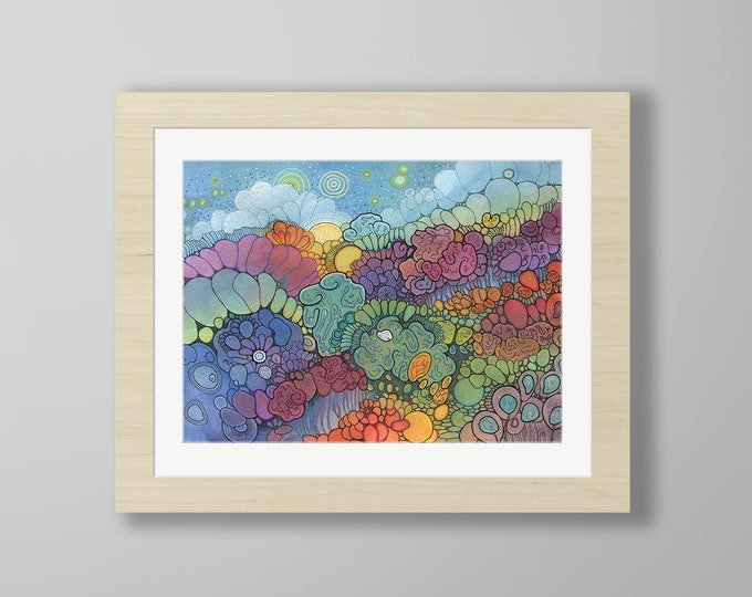 DoodlePainting - ORIGINAL -  20x16 - Abstract Circles Watercolor in Mat -  Magic Hour