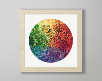 DoodlePainting - ORIGINAL -  8x8 - Abstract Circles Watercolor Petri -  Unfolding Life