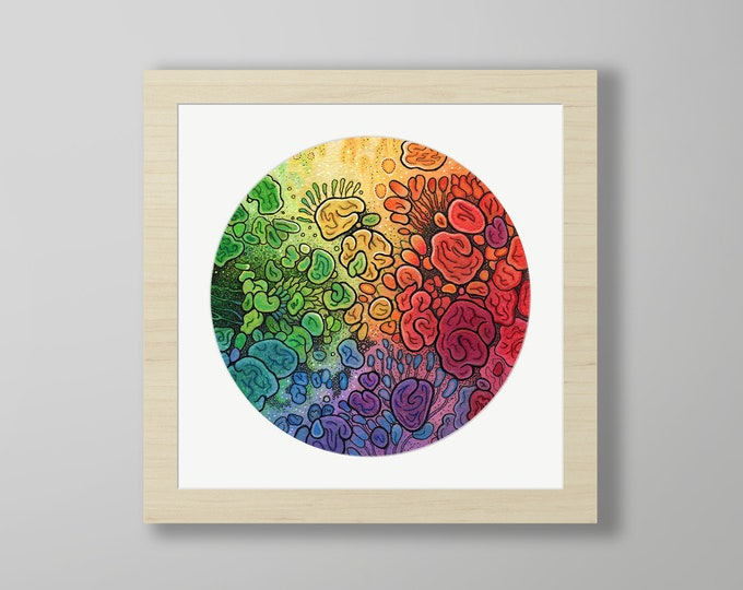 DoodlePainting - ORIGINAL -  8x8 - Abstract Circles Watercolor Petri -  Unfolding Life