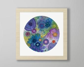 DoodlePainting - ORIGINAL -  18x18 - Abstract Circles Watercolor in Mat -  Eternity
