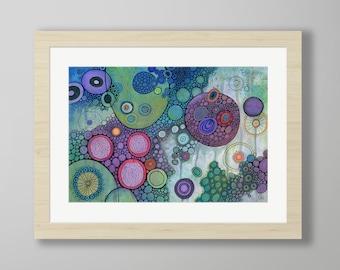 DoodlePainting - ORIGINAL -  24x18 - Abstract Circles Watercolor in Mat -  Treeton