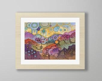 DoodlePainting - ORIGINAL -  20x16 - Abstract Circles Watercolor in Mat -  Into The Sun