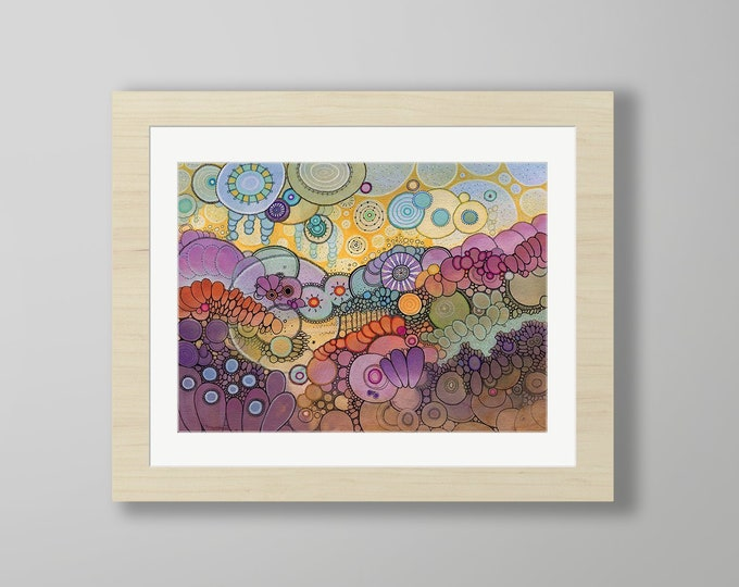 DoodlePainting - ORIGINAL -  20x16 - Abstract Circles Watercolor in Mat -  Into The Sun