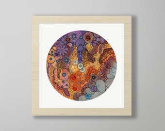 DoodlePainting - ORIGINAL -  18x18 - Abstract Circles Watercolor in Mat -  Inner Self