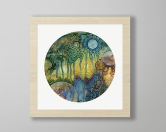 DoodlePainting - ORIGINAL -  18x18 - Abstract Circles Watercolor in Mat -  Dust Of Time