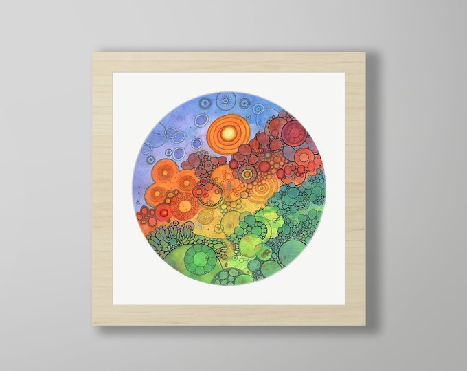 DoodlePainting - ORIGINAL -  18x18 - Abstract Circles Watercolor in Mat -  Never Ending Circles