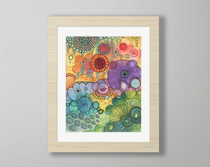 DoodlePainting - ORIGINAL -  16x20 - Abstract Circles Watercolor in Mat -  Pandora