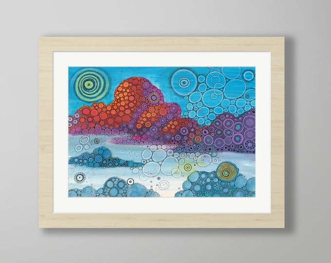 DoodlePainting - ORIGINAL -  24x18 - Abstract Circles Landscape Watercolor in Mat -  On Top of the World