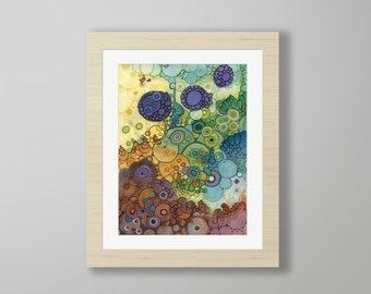 DoodlePainting - ORIGINAL -  16x20 - Abstract Circles Watercolor in Mat -  Homecoming