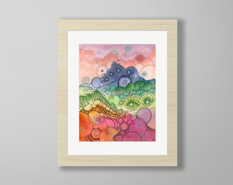 DoodlePainting - ORIGINAL -  16x20 - Abstract Circles Watercolor in Mat -  Days of Candy