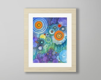 DoodlePainting - ORIGINAL -  16x20 - Abstract Circles Watercolor in Mat -  My Tears Are Becoming A Sea