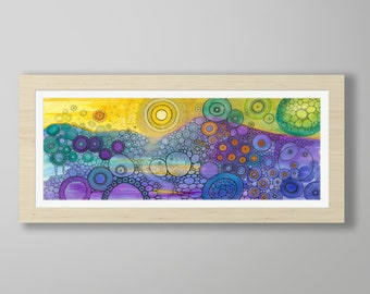DoodlePainting - ORIGINAL -  30x12 - Abstract Circles Landscape Watercolor in Mat -  Stardust
