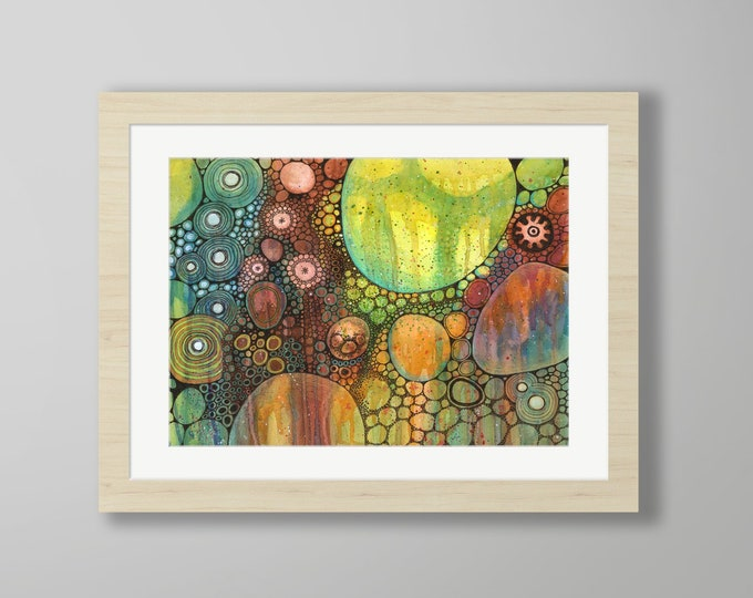DoodlePainting - ORIGINAL -  24x18 - Abstract Circles Watercolor in Mat -  Basso Profundo
