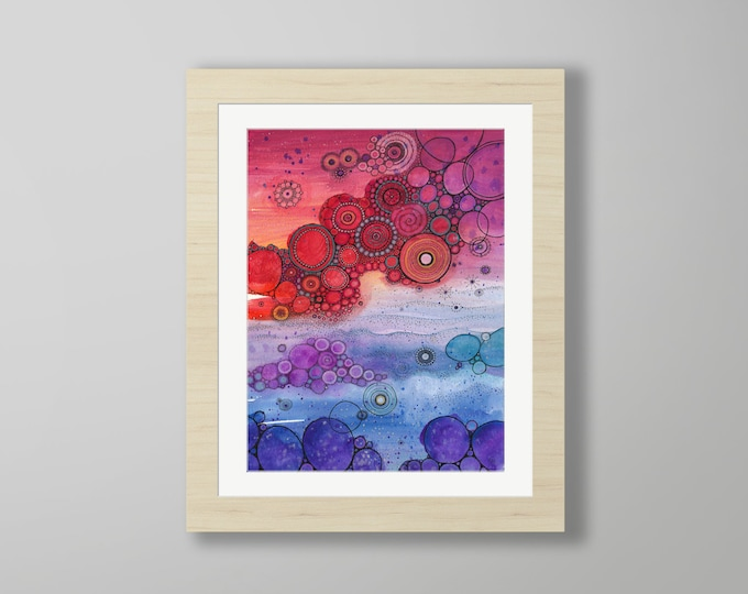 DoodlePainting - ORIGINAL -  16x20 - Abstract Circles Watercolor in Mat -  Coming Back Around
