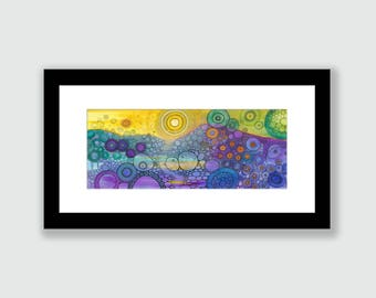 MATTED PRINT Stardust DoodlePainting in 24x12 mat