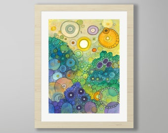 DoodlePainting - ORIGINAL -  22x28 - Abstract Circles Watercolor in Mat -  No Better Place