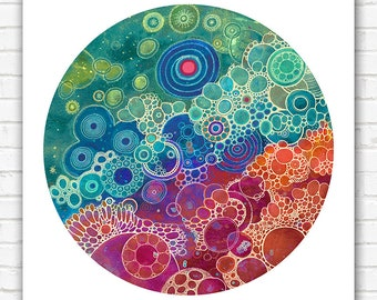 PRINT  - Afterglow - 12x12 - Circle - DoodlePainting