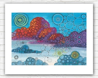 PRINT - On Top of The World Doodle Painting - 5x7 or 8x10