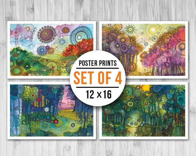 MINI POSTER PACK - Doodle Landscapes - Set of Four 11x17 Mini Posters