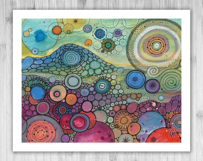 GICLEE PRINT -  And Stars, Ringed - DoodlePainting - Select Your Size