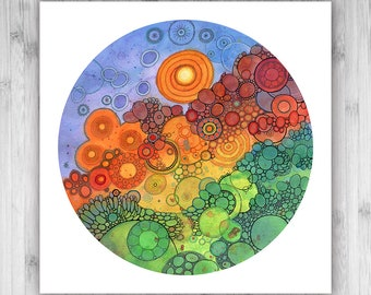 GICLEE PRINT  - Never Ending Circles - 12x12 - Circle - DoodlePainting - Select Your Size