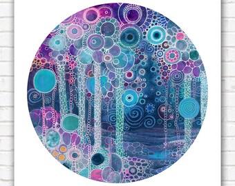 PRINT  - Lullaby - 12x12 - Circle - DoodlePainting