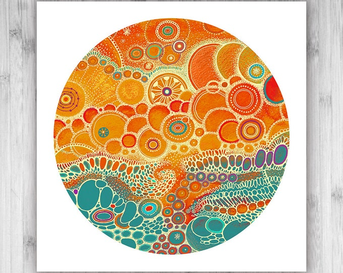 GICLEE PRINT  - Hideaway - 12x12 - Circle - DoodlePainting - Select Your Size