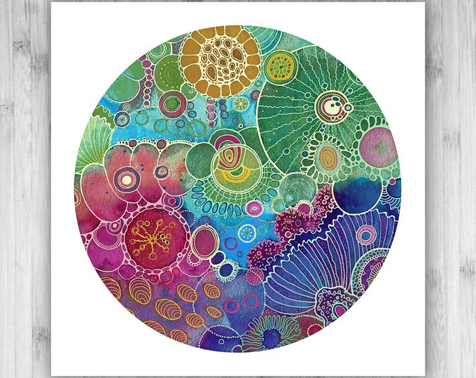 GICLEE PRINT  - Avalon - 12x12 - Circle - DoodlePainting - Select Your Size
