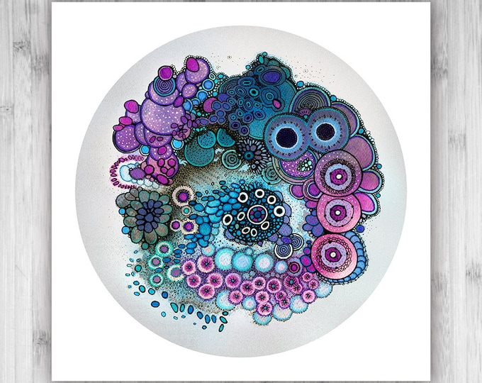 GICLEE PRINT  - Caeruleus Purpureus - 12x12 - Circle - DoodlePainting - Select Your Size