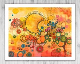 GICLEE PRINT - Un Nouveau Soleil - DoodlePainting - Select Your Size
