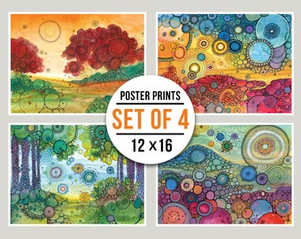 MINI POSTER PACK - Whimsical Views -  Set of Four 12x16 Mini Posters