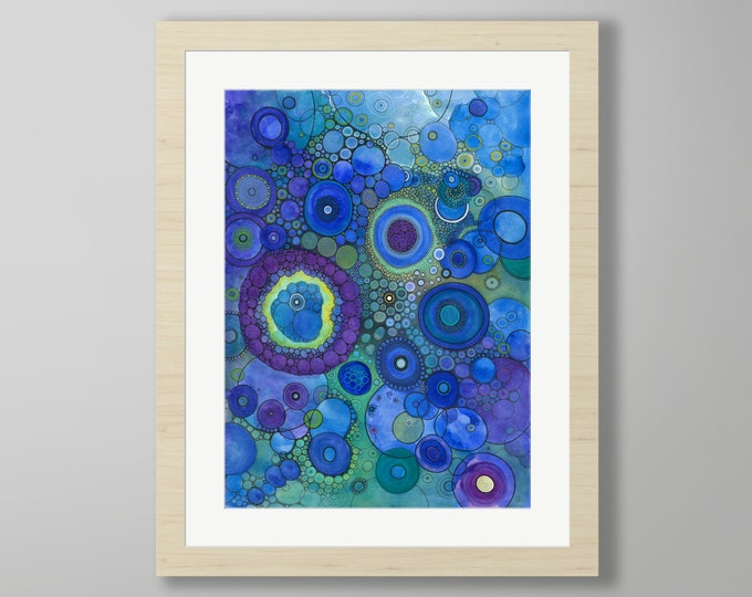 DoodlePainting - ORIGINAL -  22x28 - Abstract Circles Watercolor in Mat -  Light Years From Home