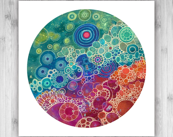 GICLEE PRINT  - Afterglow - 12x12 - Circle - DoodlePainting - Select Your Size