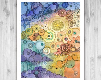 GICLEE PRINT - Where The Sun Beats - DoodlePainting - Select Your Size