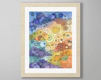 DoodlePainting - ORIGINAL -  22x28 - Abstract Circles Watercolor in Mat -  Where The Sun Beats