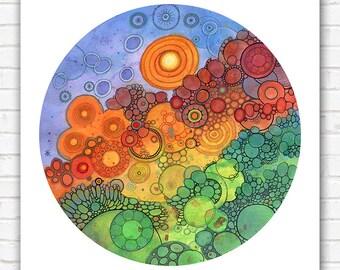 PRINT  - Never Ending Circles - 12x12 - Circle - DoodlePainting