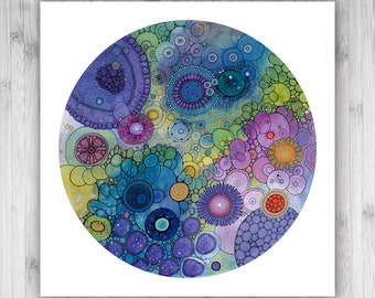 GICLEE PRINT  - Eternity - 12x12 - Circle - DoodlePainting - Select Your Size