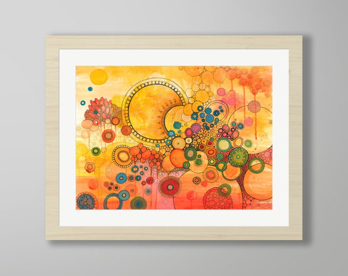 DoodlePainting - ORIGINAL -  28x22 - Abstract Circles Watercolor in Mat -  Un Nouveau Soleil