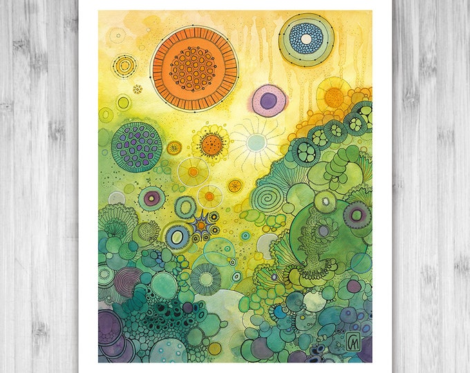 GICLEE PRINT -  There Beneath - Doodle Painting - Select Your Size
