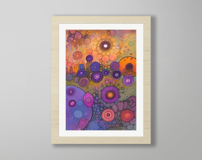 DoodlePainting - ORIGINAL -  18x24 - Abstract Circles Watercolor in Mat -  Guiding Light