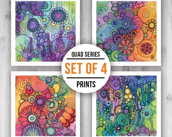 GICLEE PRINT SET of Four Square Prints - Select Your Size