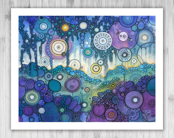 GICLEE PRINT -  Winter Light Doodle Painting - Select Your Size