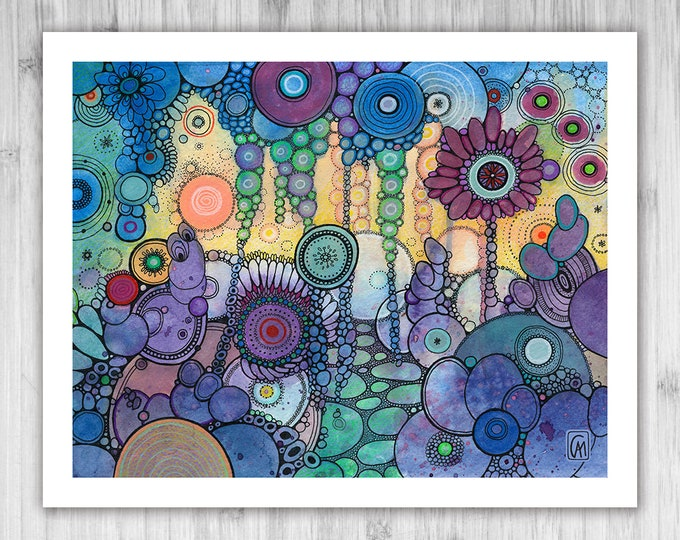 GICLEE PRINT -  Under The Water Doodle Painting - Select Your Size